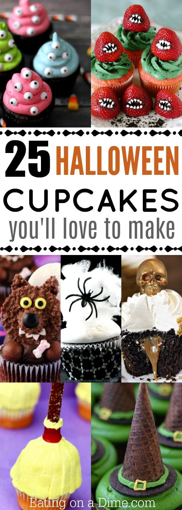 Try these fun and easy Halloween cupcakes ideas that kids are going to love. 25 ideas that don't cost a fortune to make and are easy on your wallet! #haloween #cupcakes