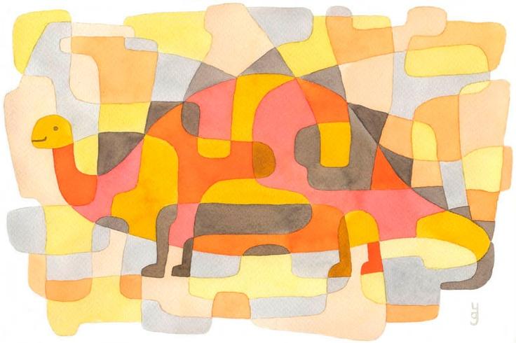 Dinosaur 2 - Childrens Art Mid Century Modern Print Nursery Art Print pink yellow orange gray 8 x 11. $19.00, via Etsy.