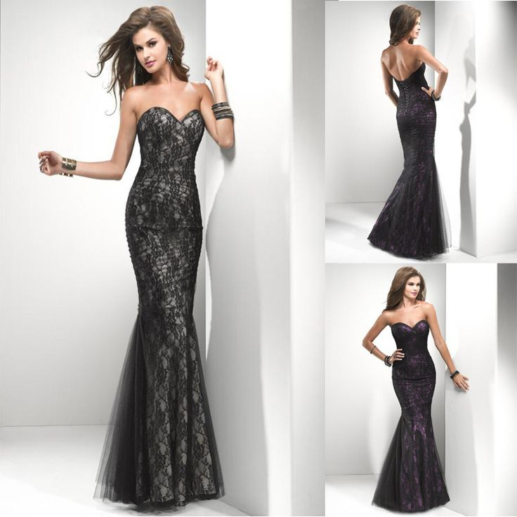 lace mermaid gown black | ... Black Blue Beaded Lace Prom Dresses-in Prom…