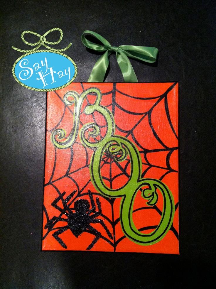 "8x10"" Halloween ""BOO"" Glitter Spider Web Canvas. $18.00, via Etsy."