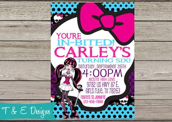 Monster High Birthday Invitation by TandEdesigns on Etsy