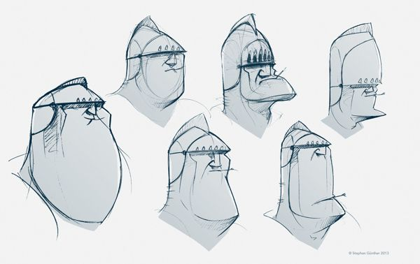 Character Designs and sketches by Stephan Günther, via Behance
