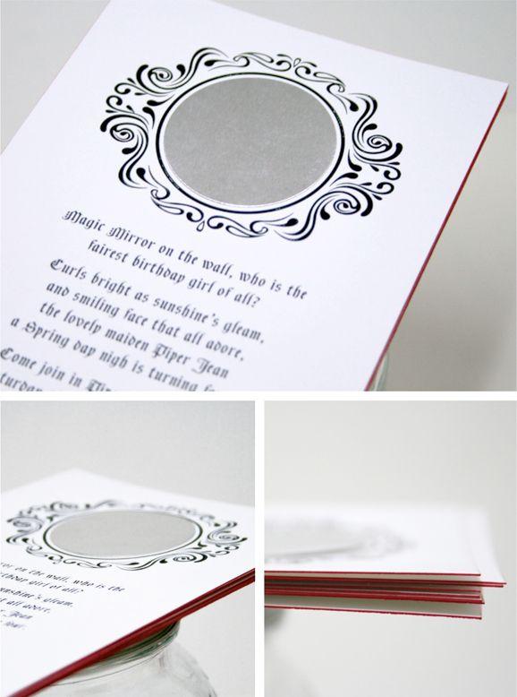 Mirror, Mirror invitation for Snow White Birthday Party