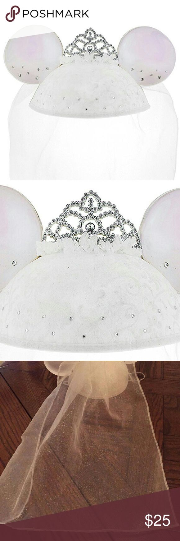 Disney Minnie Mouse Rhinestone Bride Ears Cap Veil Official Exclusive Disney Theme Parks Merchandise! Feel like a Princess as a Disney Bride & make your special day/honeymoon romantic at the park! We literally had over 100 ppl congratulate us while wearing these - and we got freebies! Only worn twice. No damages! LIKE NEW!  Embroidered art. Flocked velvet hat. Rhinestone accents & tiara. Elastic chin strap. Glittery veil. Polyester w/plastic ears.   **Pictured Mickey Mouse Ears Groom Top Hat…