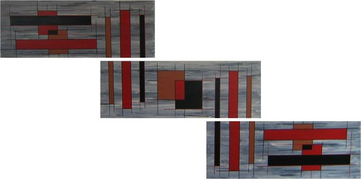 Composição abstrata de varias telas, em acrílico.