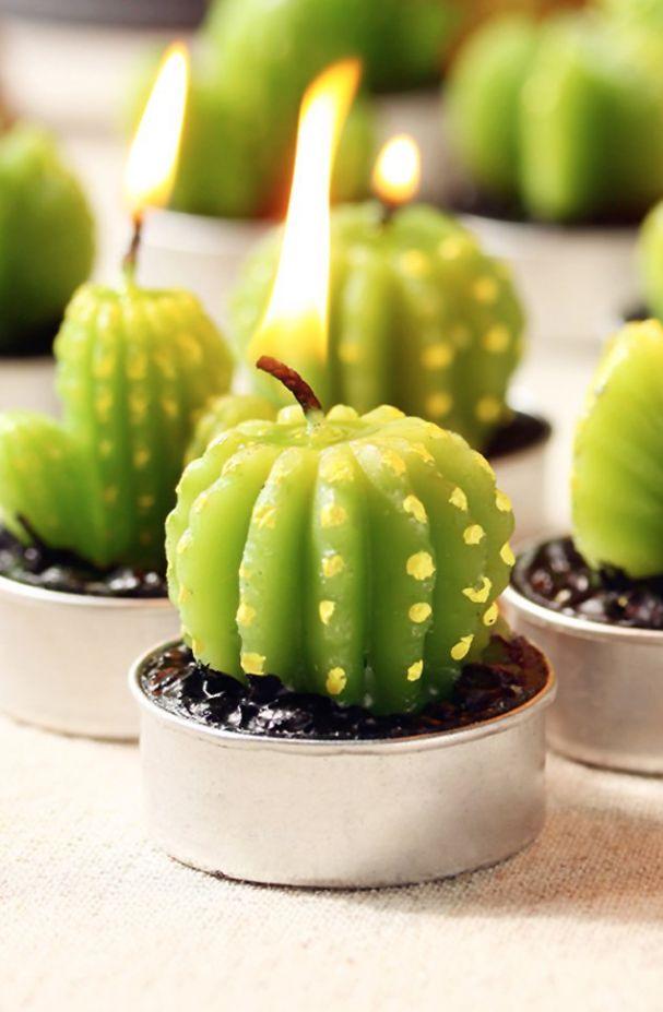 Cactus Candle - cactus party decor / cactus home decor - cactus tea lights (aff link)