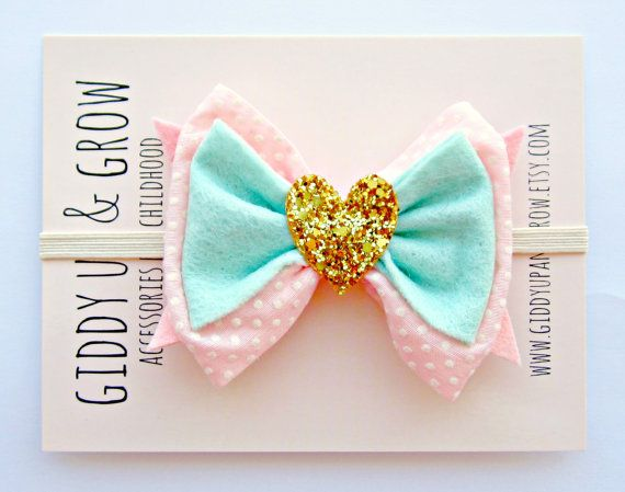 Baby Bow Headband - Vintage Fabric Pink and Mint with Gold Glitter Heart