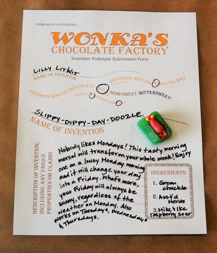 Prototype invention form for an exciting new candy, from the LitWits Kit for CHARLIE AND THE CHOCOLATE FACTORY by Roald Dahl. LitWits is all about sensory, hands-on experiences in literature. Get the LitWits Kit at https://litwits.com/product/charlie-and-the-chocolate-factory/