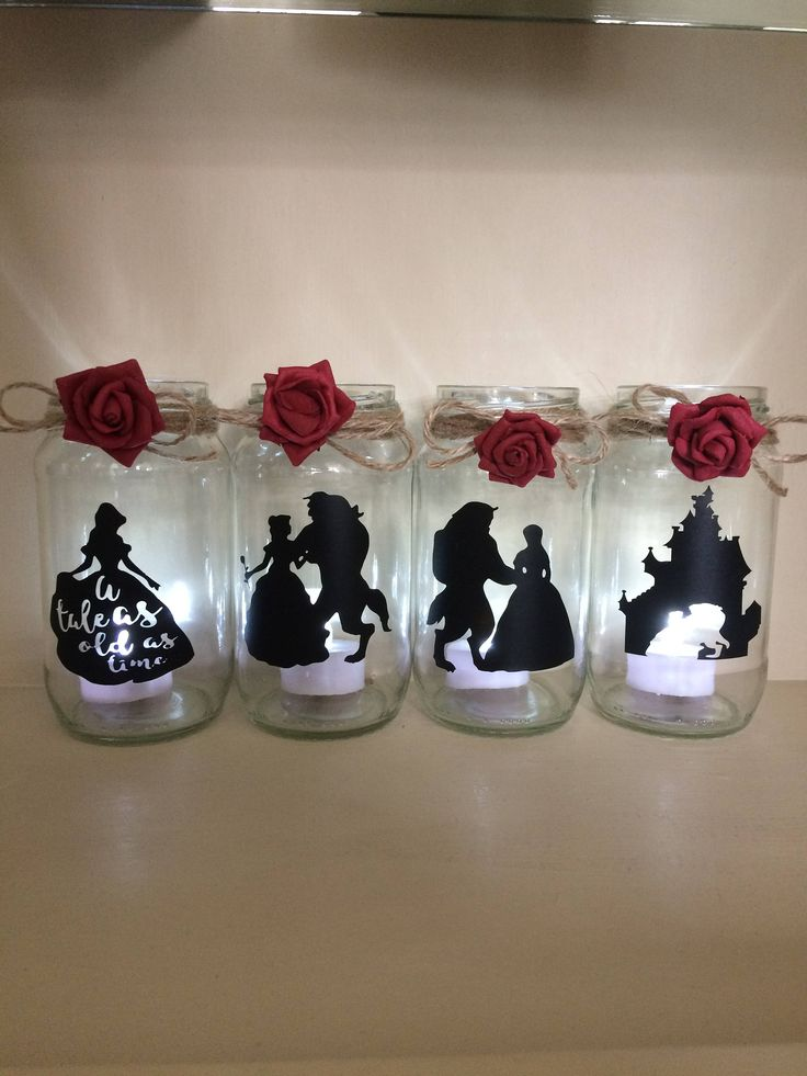 beauty and the beast lantern jar belle Disney ideal for party decor gift decorating tables Christmas bridal shower weddings by LoveartsGifts on Etsy