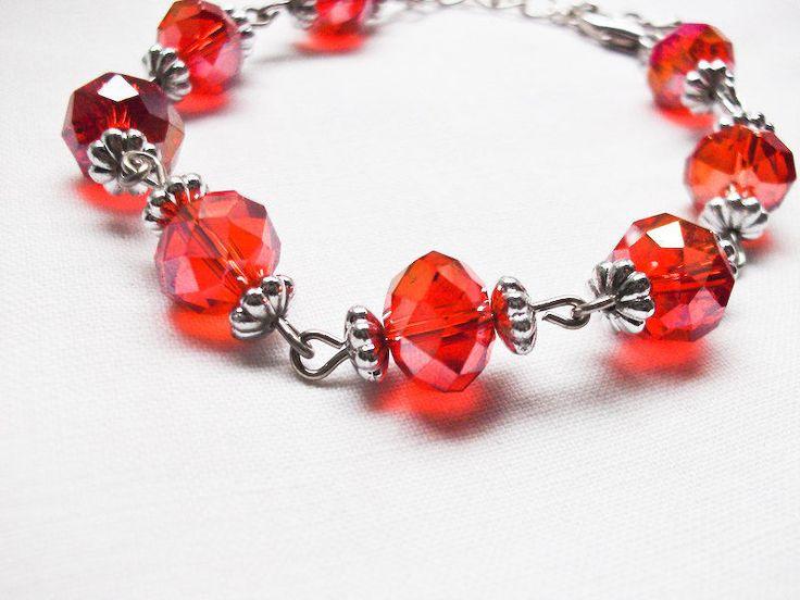 Red Crystal Faceted Beads Bracelet