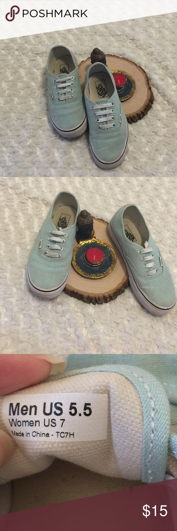 Vans Lace Up Sneakers 👟 Size 7 These super cute shoes are pre-owned and gently used with some wear (please see photos). Size: 7 in women's. Color: mint. Vans Shoes Sneakers