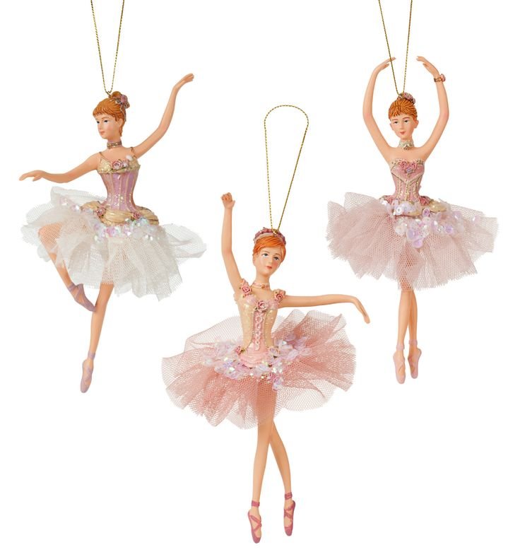 Pink Sequin Ballerina Ornament - Set of 3 - Style Number: TD1342 $27.50 #discountdance #greatgifts