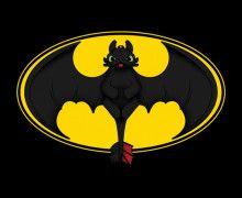 toothless/batman logo | Batman Riding Toothless Dragon T Shirt
