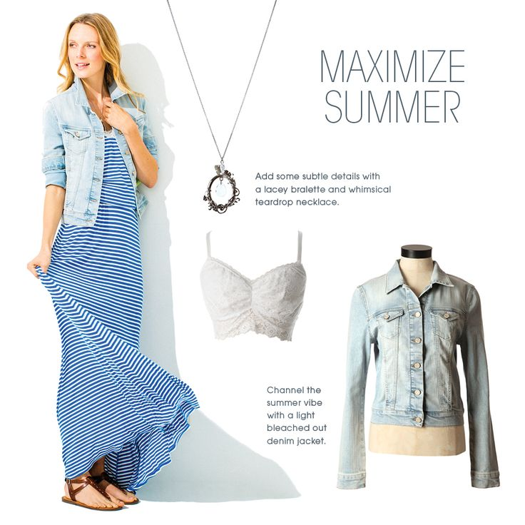Add some subtle details to a striped maxi with a lacey bralette and a delicate and clear pendant