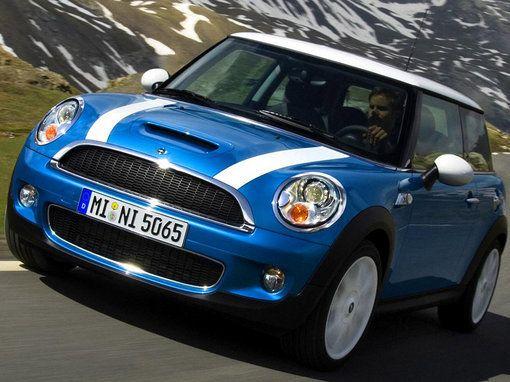 Mini Cooper S - Lightening Blue with white bonnet stripes, British flag hard top, black leather interior w/ blues trim. WANT