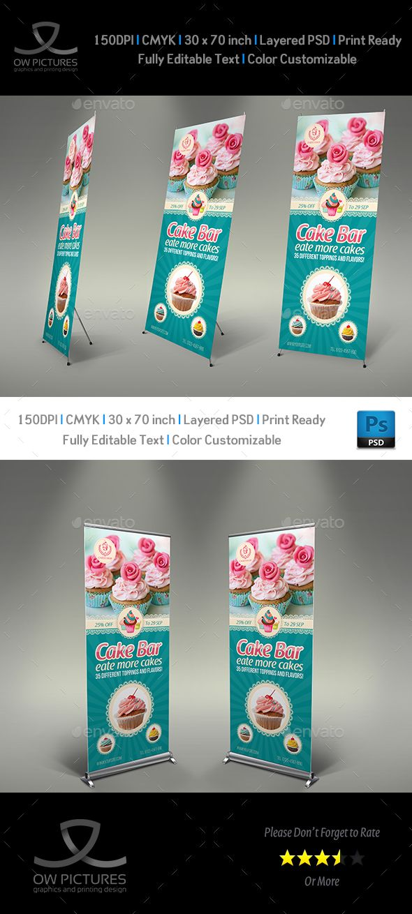 Cake Shop Banner Roll Up Signage Template PSD