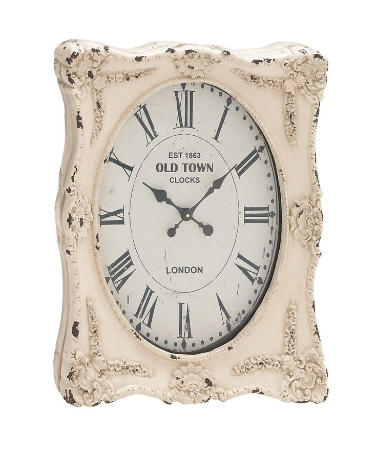 Shabby White Distressed Wall Clock French Country Chic Home Decor
