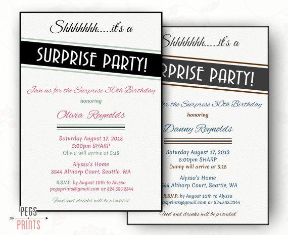 Adult Surprise Birthday Invitation Printable by PegsPrints on Etsy