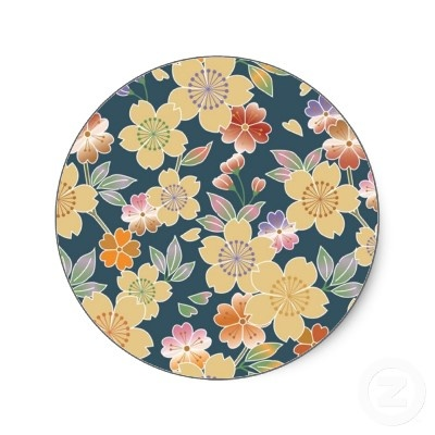 Japan, Sakura, Kimono, Origami, Chiyogami, Flower, Round Stickers