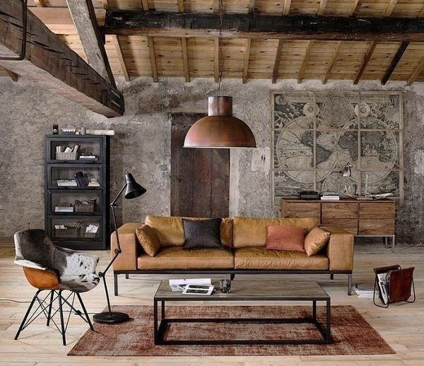 World Map In Interior Design Industrial Style Living Room World Map Wall Decorating I Rustic Living Room Rustic Farmhouse Living Room Vintage Living Room
