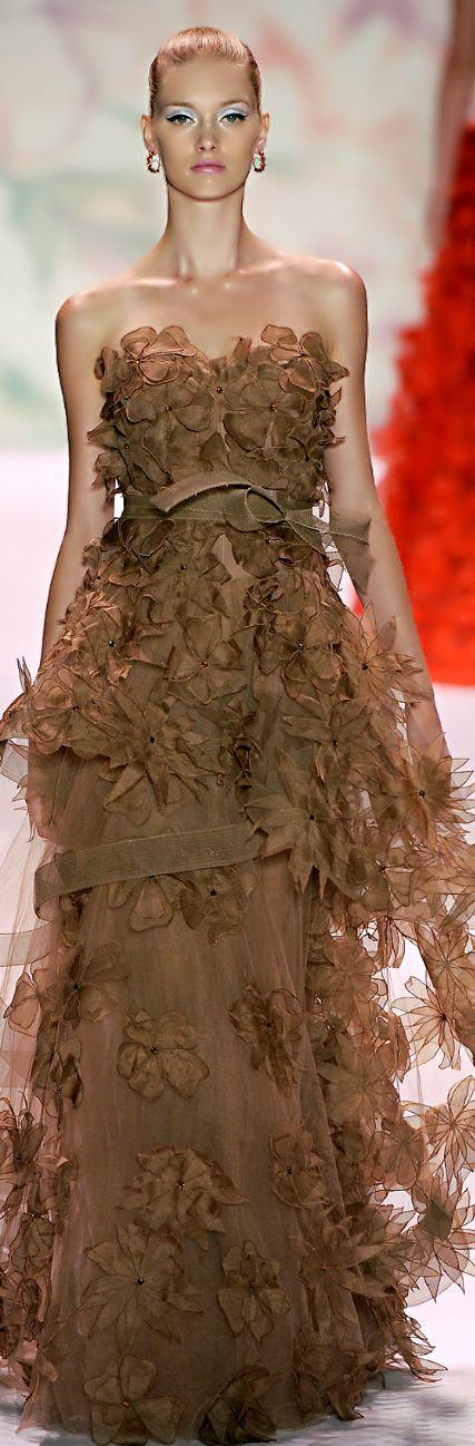 Monique Lhuillier ~ Strapless Full Skirt Evening Dress, Mocha