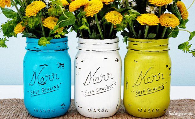 DIY Painted Mason Jars with livelaughrowe.com