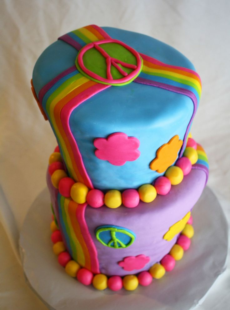 Rainbow Peace Sign Wonky Birthday Cake