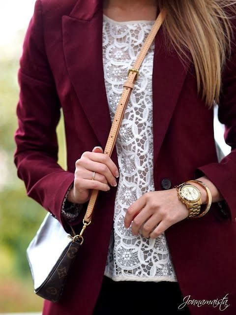 Fall Work Outfit With Lace Shirt and Maroon Coat