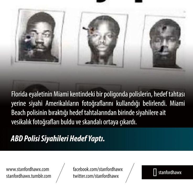 ABD Polisi Siyahileri Hedef Yaptı  Florida eyaletinin Miami kentindeki bir poligonda polislerin, hedef tahtası yerine siyahi Amerikalıların fotoğraflarını kullandığı belirlendi. Miami Beach polisinin bıraktığı hedef tahtalarından birinde siyahilere ait vesikalık fotoğrafları buldu ve skandalı ortaya çıkardı.