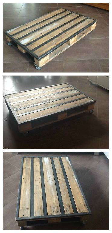 Table basse palette metal pallet metal coffee table pallet id - Fabrication table basse palette ...