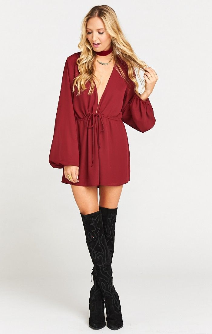 Zoe Romper ~ Red Wine Crisp
