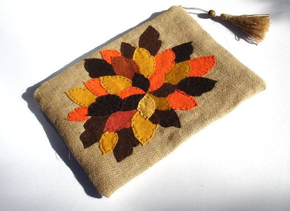 Jute clutch  bag appliqued with autumn leaves handmade by Apopsis