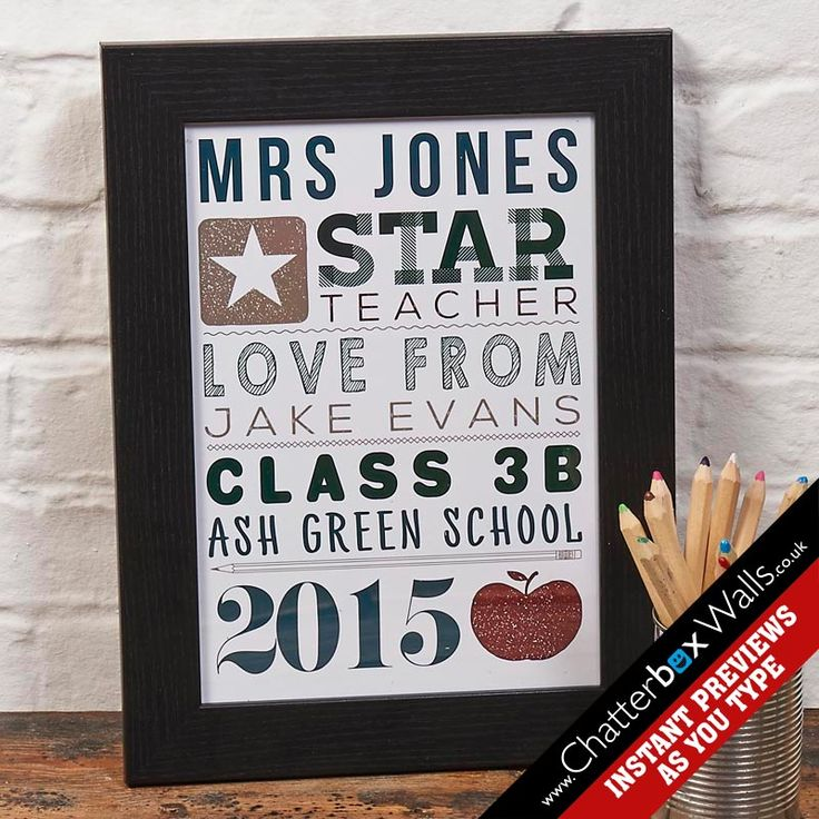 Personalised end of term word art gift for teachers