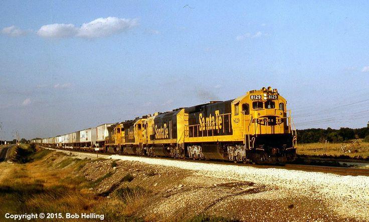 ATSF #8129 rockets the hot 178 train through Newton, KS on July 27, 1984. Photo by Bob Helling.