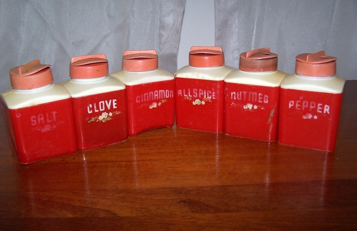 Vintage Spice Container Jar Set Dapol Red Plastic White