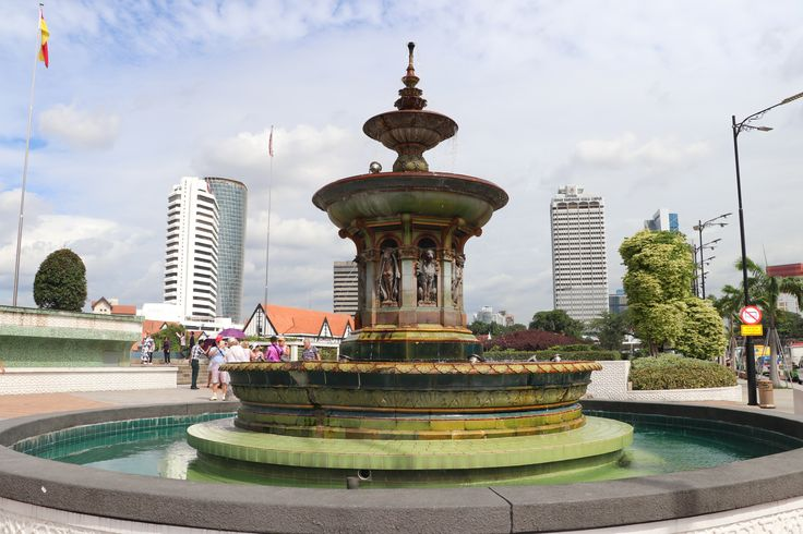 Beautiful fountain in the KL Town Square - a tribute to their British heritage.