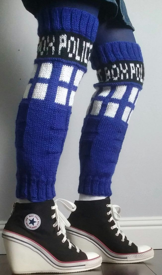 Knitting Pattern for TARDIS Leg Warmers - Doctor Who inspired thigh high leg warmers are knit in the round. Sizes included in the pattern are XS-XL.