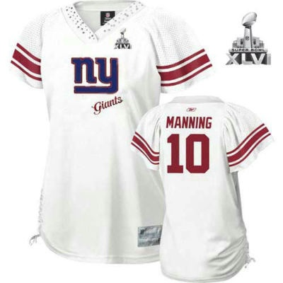 428897b68 ... New York Giants Eli Manning 2011 Women White Field Flirt Fashion 2012  Super Bowl Jersey ...