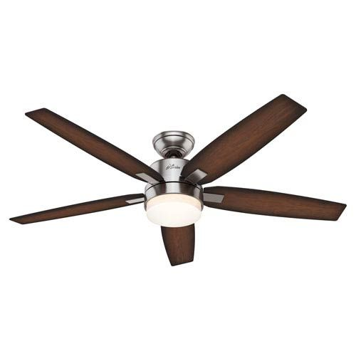 Hunter Fans Windemere Brushed Nickel Two Light 54 Inch Ceiling Fan With Light And Remote On SALE
