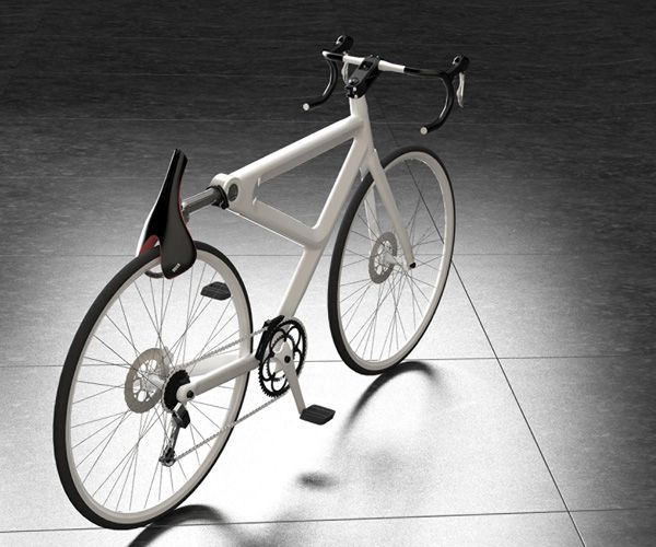 Saddle Lock - the seat post swings down around the main frame when a button is pushed. A combination lock allows the release of a special alloy rotating lock that extends from one end of the saddle to the other, securing its connection to the wheel. Red dot award.