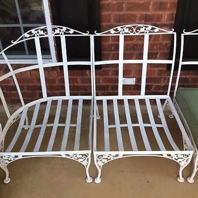 Wrought-Iron-Acorn-Leaf-Furniture-3-Piece-Sofa-2-Chairs-1-ottoman-LOCAL-PICKUP