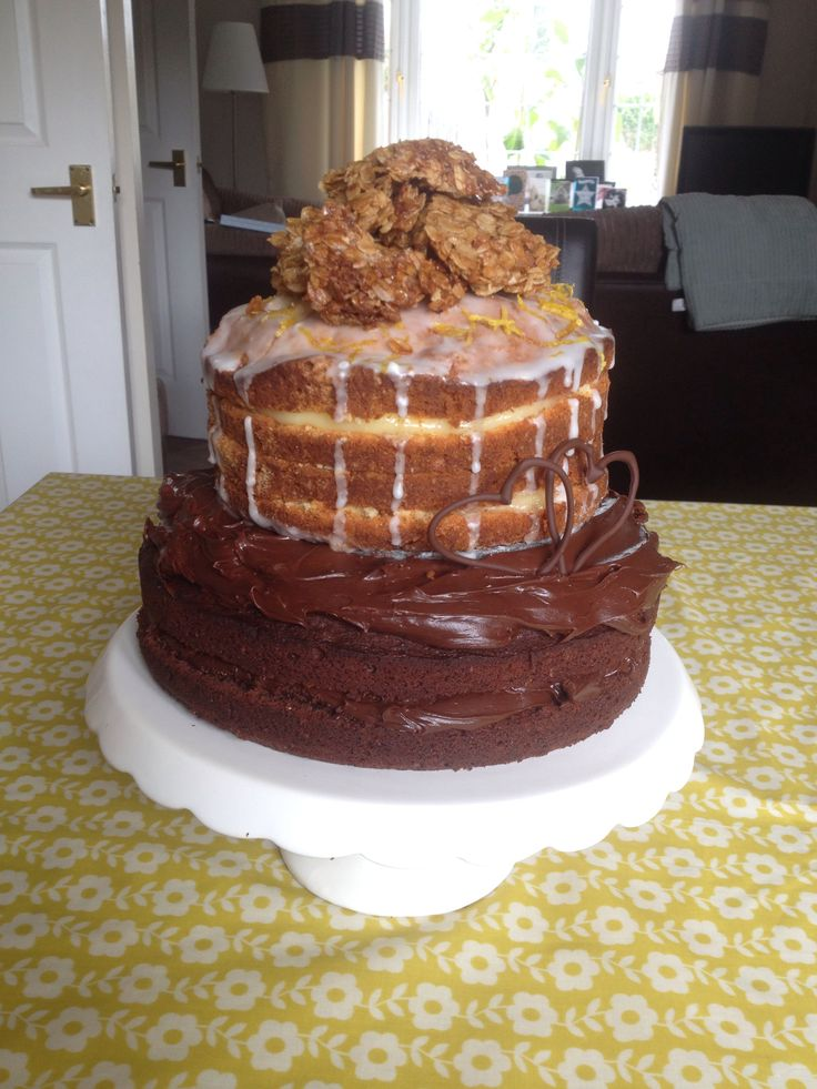 Chocolate Fudge Lemon Drizzle Flapjack Cake, or simply 'Daddy cake'