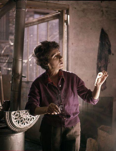 Marcelle Ferron (1924-2001) in her studio in Paris.