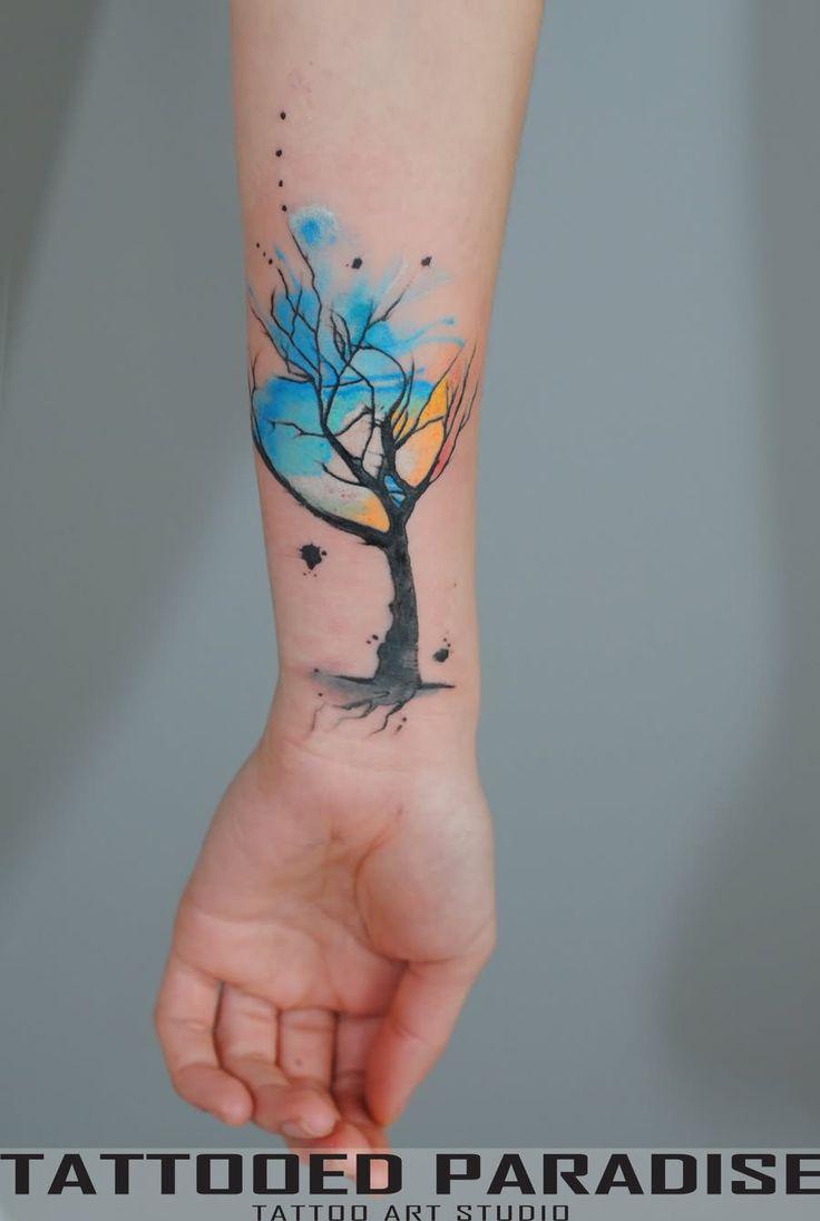 Amazing Watercolor Tree Tattoo On Wrist                                                                                                                                                                                 Mais