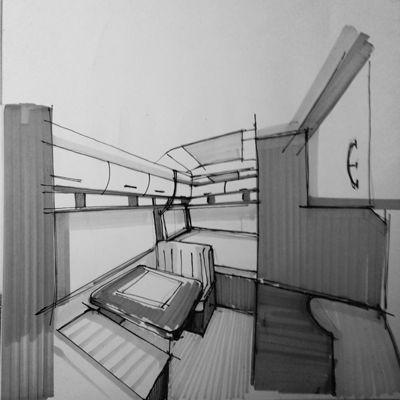 DESPRE PROIECT | Tracia Caravan - schiță de interior - autor: arh. Cristian Silviu Valentin