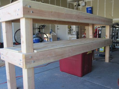 Workbench For Our Garage Materials Needed 1 4x8x 23 32 Sheet Of Plywood Basically 1 Sheet Of Inch Thick In 2020 Building A Workbench Workbench Workbench Designs