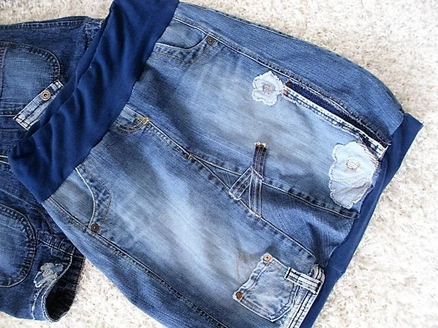 upcycling jeans patwork hippie coll rockabilly lagenlook ballonrock
