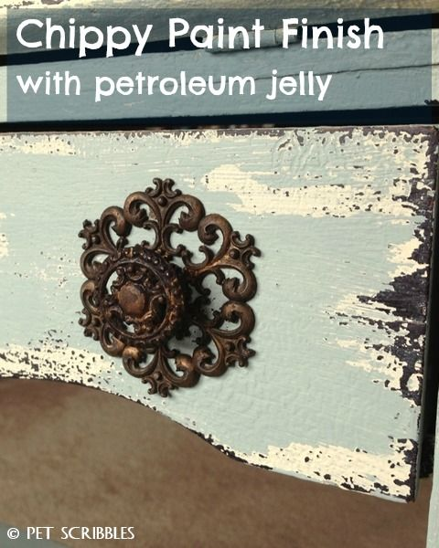 Chippy Paint Antique Secretary Desk makeover using petroleum jelly and chalky finish paints!