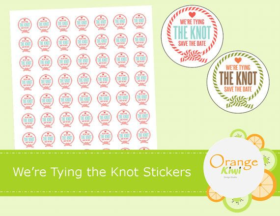 We're Tying The Knot Stickers  Save The Date by OrangeKiwiDesign