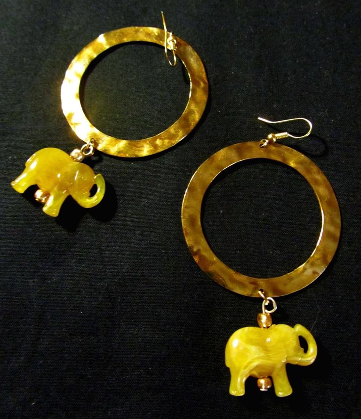 Elephant gold zen earrings